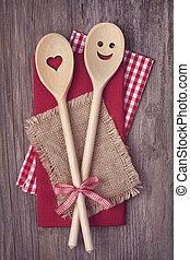 Two wooden cooking spoons