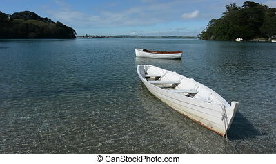 Two wooden dinghy New Zealand - An old wooden boats mooring...