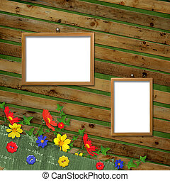 Two Wooden frameworks for portraiture on the abstract background with flowers