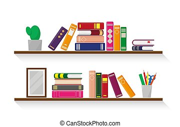 Two wooden shelves with books. Vector illustration.
