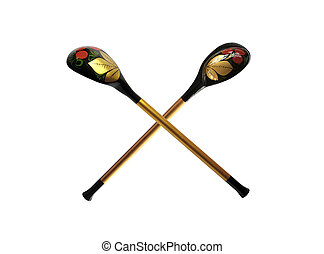 Two wooden spoons with color varnished pattern isolated over white background