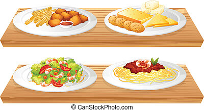 Two wooden trays with four plates full of foods