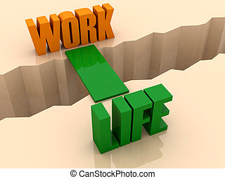 Two words WORK and LIFE united by bridge through separation crack. Concept 3D illustration.