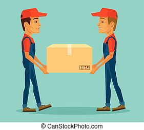 Two workers carrying big box