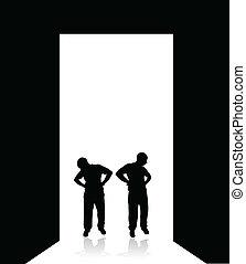 two worried man at the door