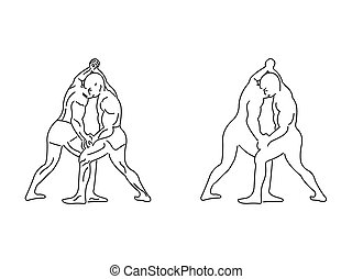 Two wrestlers competing line illustration vector on white background