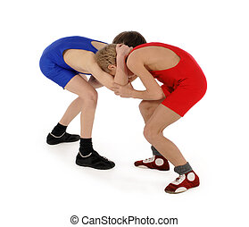 two wrestlers Greco-Roman wrestling on the white background...