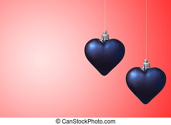 two xmas hearts on red background
