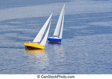 Two yachts on summer Dnipro river