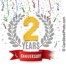 Two years anniversary background with red ribbon, confetti and olive branch on white. Greeting card, poster or brochure template design. Vector illustration.