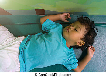 Two years old asian child sleeping on mattress - Two years...