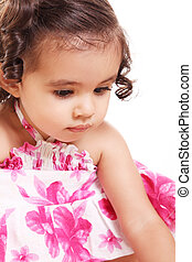 Two years old girl - Beauty litttle girl looking down over...