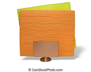 two yellow and orange napkins on a support over white background