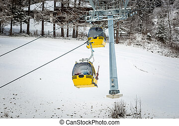 yellow cable cars on ski slope at Austrian Alps
