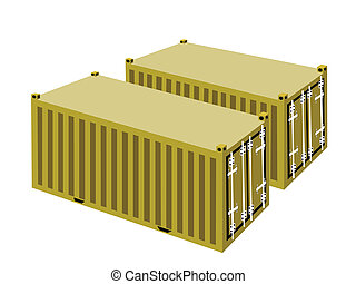 Two Yellow Cargo Containers on White Background