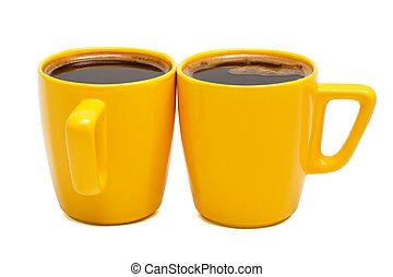 yellow mugs of coffee