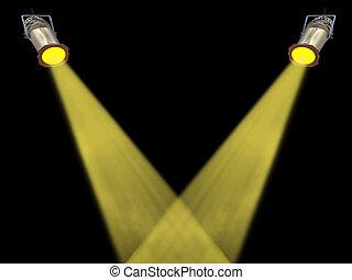 Two yellow spot lights