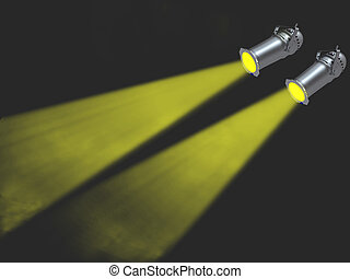 Two yellow spot lights on black background