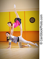 Two young acrobats