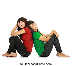 two young asian female thinking