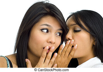 two young asian friends gossip