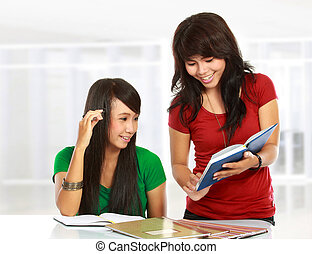 two young asian student studying - portrait of two young...
