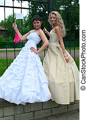 Two young beautiful brides