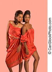 Two young beautiful ethnic sexy women in sari