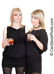 Two young beauty blonde with cocktails. Isolated