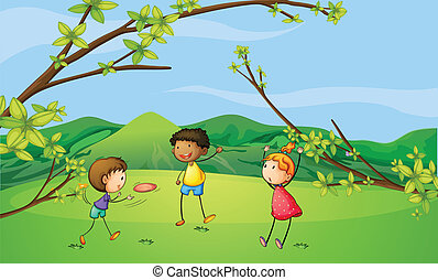 Two young boys and a young girl playing