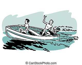 Two young boys enjoying a boat ride