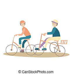 Two young boys ride a bike. Healthy lifestyle. Vector illustration, isolated on white.