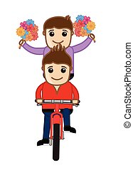 Two Young Boys Riding Bicycle