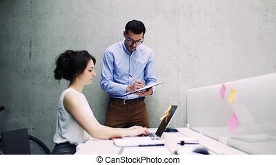 Two young business people in the modern office working together.