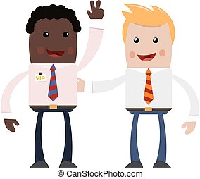 Two young businessman on white background. A couple of successful businessmen - blonde