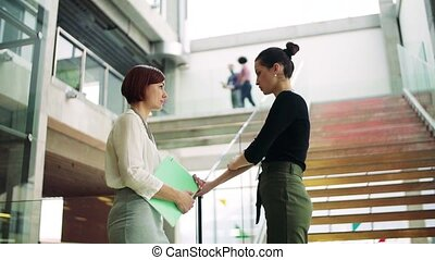 Two young businesswomen standing by a staircase, talking....