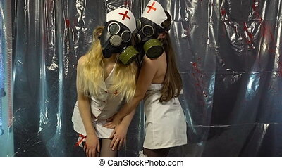Two young dancing girls in costumes - Footage of two dancing...
