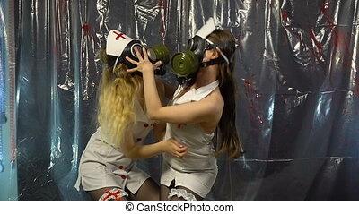Two young dancing women in uniform - Footage of two dancing...