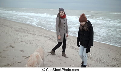 Two young girlfriends are walking along the beach with a dog