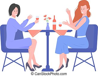 Two young girls drink wine in a restaurant.