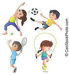 Illustration of the two young girls exercising and two young boys playing on a white background