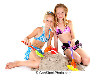 two young girls in beach wear