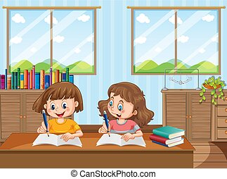 Two young girls studying at home