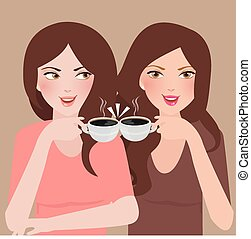 two young girls talking in a cafeteria drinking coffee frienship together