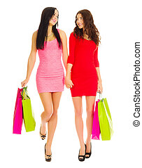 Two young girls with bags
