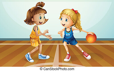 Two young ladies playing basketball - Illustration of the...