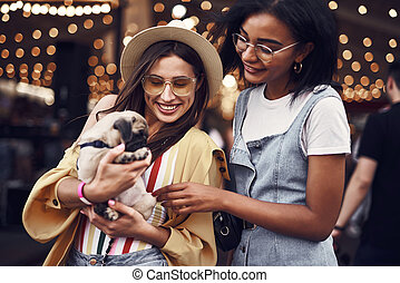 Two young ladies smiling and kindly looking at the puppy - ...