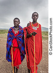 Two young Maasai live in Maasai Village near Ngorongoro ...