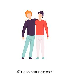 Two Young Men Hugging, Happy Meeting, People Celebrating Event, Best Friends, Friendship Concept Vector Illustration