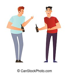 Two young men standing and talking with a bottle of beer in hand. Vector illustration, isolated on white.